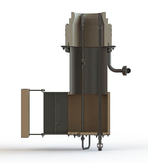 GLSF Free-Jet Round Flame Gas - Standard Plenum - Side Cutaway