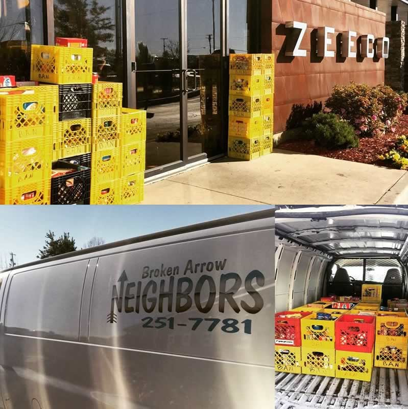 Zeeco employees donated 35 crates to the Food Drive provided by Broken Arrow Neighbors.