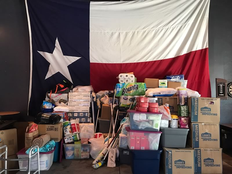 (2017) Zeeco employees deliver a trailer full of donations to various relief centers in the Houston area after Hurricane Harvey.